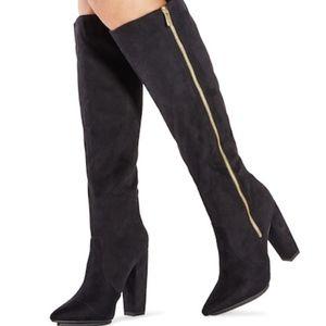 Just Fab Black Jilayne Knee-High Zip Boots